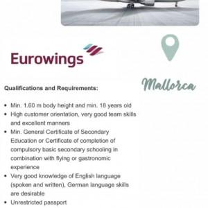 La compañía aérea Eurowings busca azafatas de vuelo para su base en Mallorca