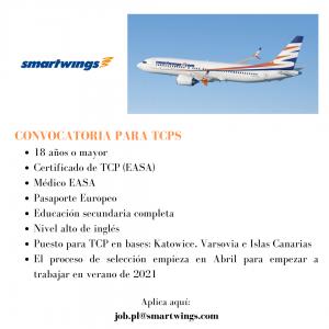 La compañía aérea Smartwings está actualmente contratando TCPS para sus bases en Islas Canarias, Katowice y Varsovia.