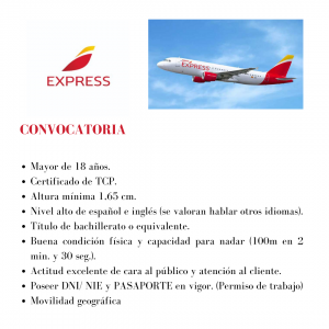 La aerolínea Iberia Express busca TCPs