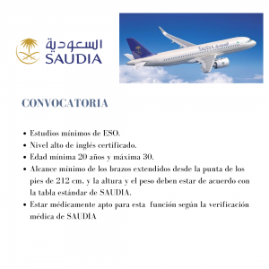 La aerolínea nacional de Arabia Saudita, Saudia busca azafatas de vuelo